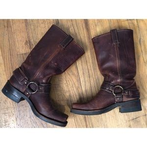 Frye leather Motorcyle slip on boots